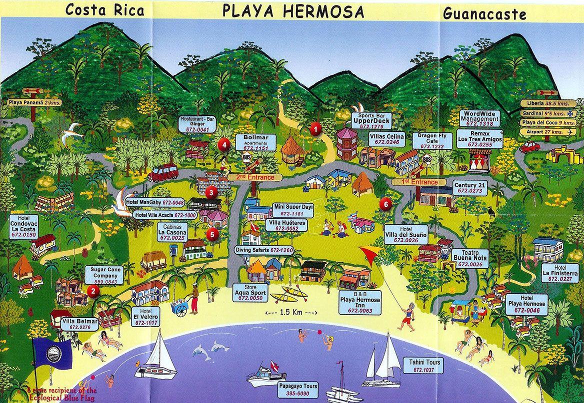 Fun map of Playa Hermosa Guanacaste Costa Rica | Costa Rica in 2019 ...