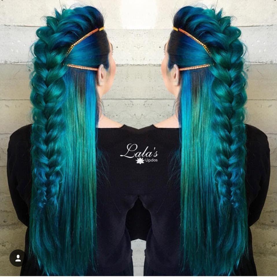 Frozen S Elsa Goddess Braid Aqua Hair Color Braid With Gold Headband Hair Styles Green Hair Dye New Braided Hairstyles