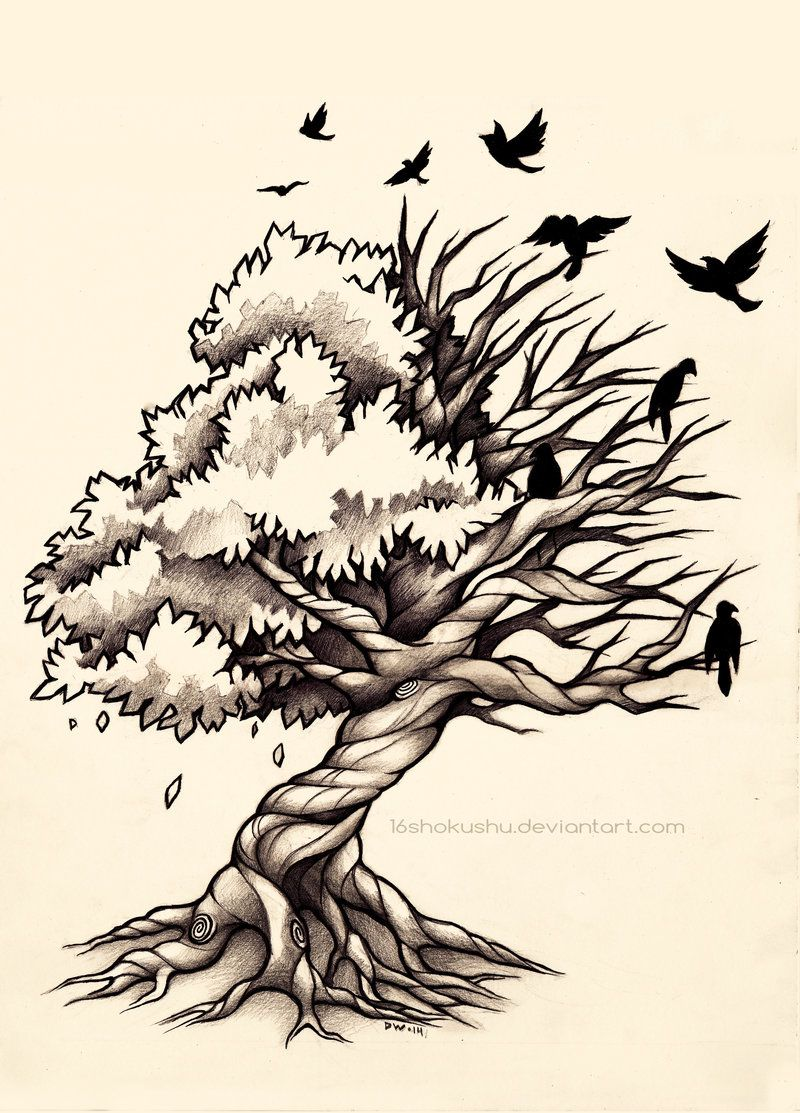 life and death tree commission by on deviantart tattoos. Black Bedroom Furniture Sets. Home Design Ideas