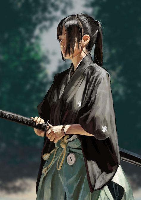 jonsunsun 女剣士 侍アートワーク 日本美術 剣士 イラスト