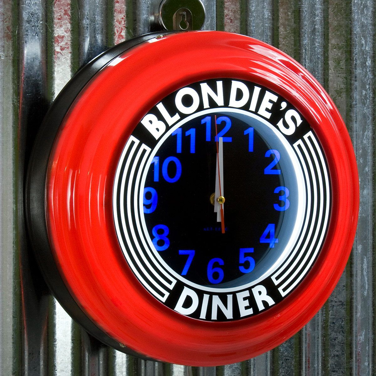 Blondies Diner Red Lighted Diner Wall Clock Clock Retro Clock Red Wall Clock