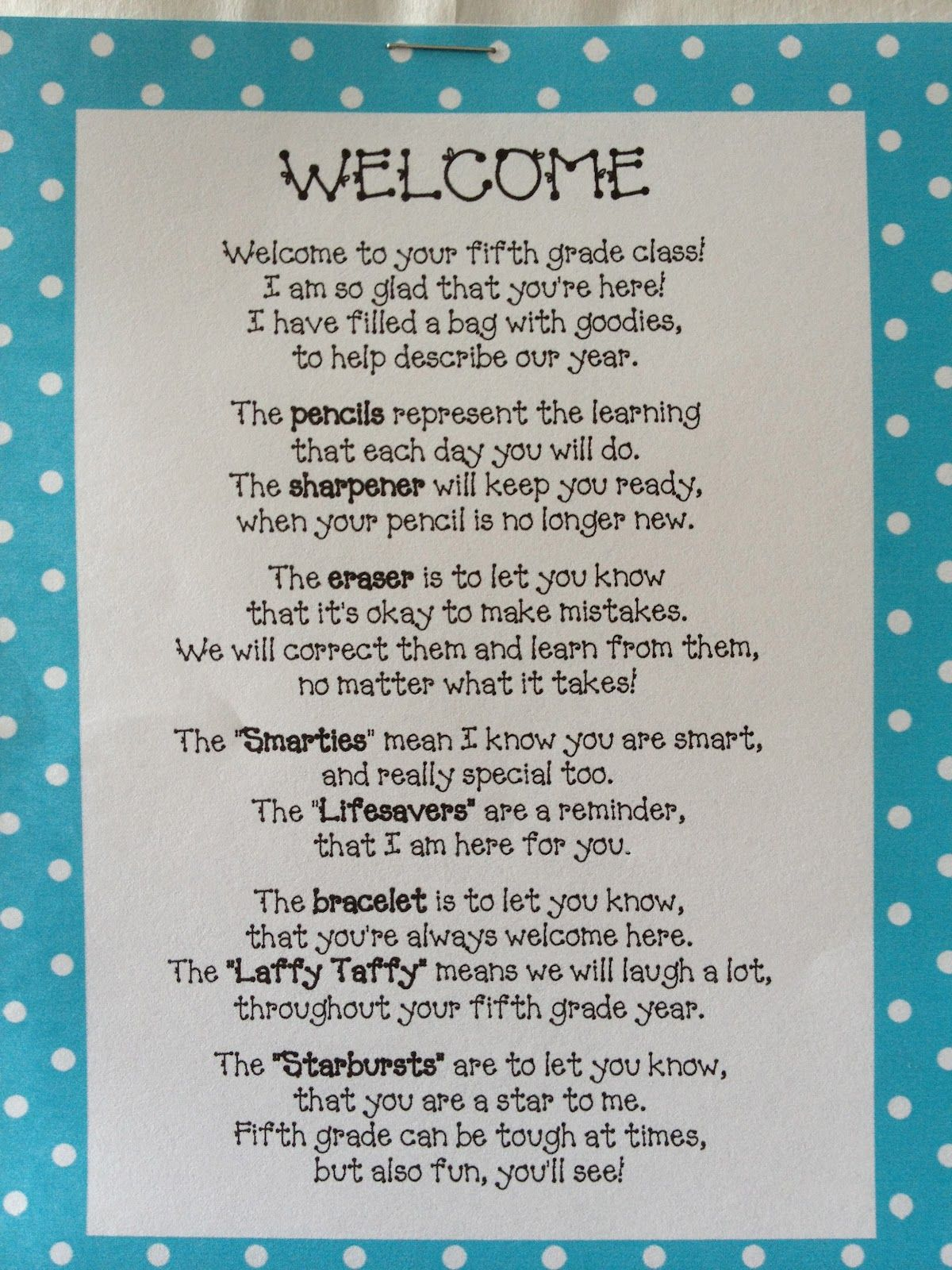 Welcome Back Poem Filled With Goodies Bags included the ...