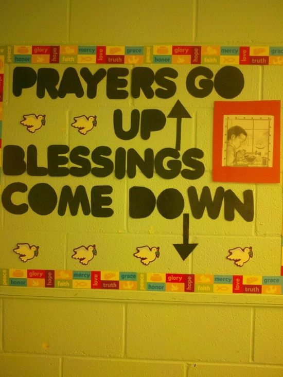Classroom Ideas To Go ~ Prayers go up blessings come down bulletin board music