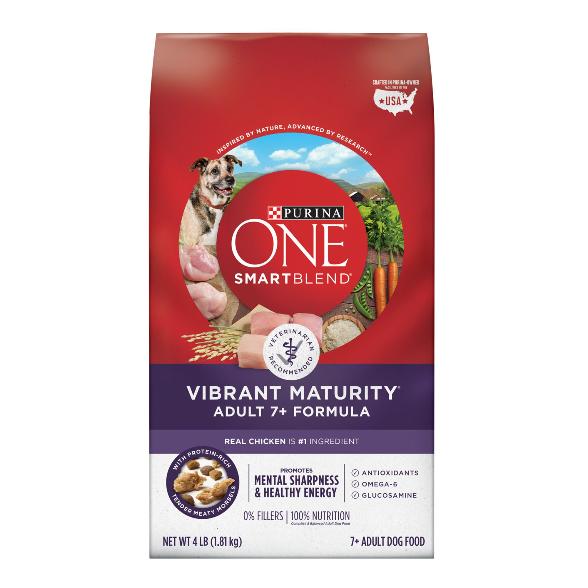 Purina One Smartblend Vibrant Maturity Senior Dog Food Chicken Size 4 Lb Copper Oat Zinc Kibble Adult Dog Food Recipes Puppy Food Dry Dog Food