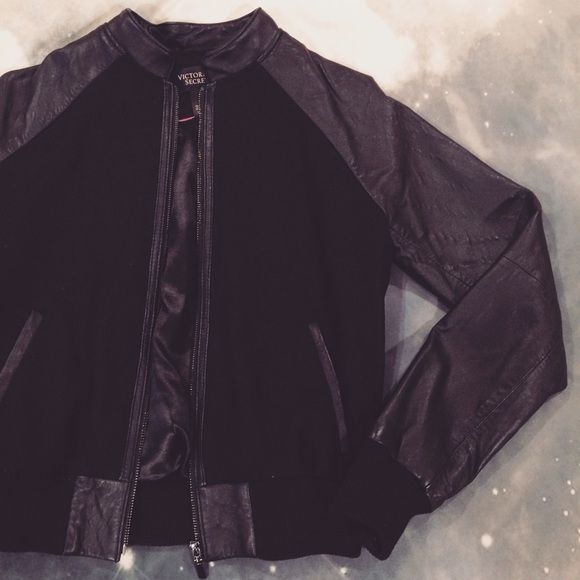 black jacket Victoria's Secret black bomber jacket. Victoria's Secret Jackets & Coats