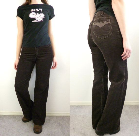 VTG 70s Levis Corduroy Pants Brown Flare Cords By AGameofTrends