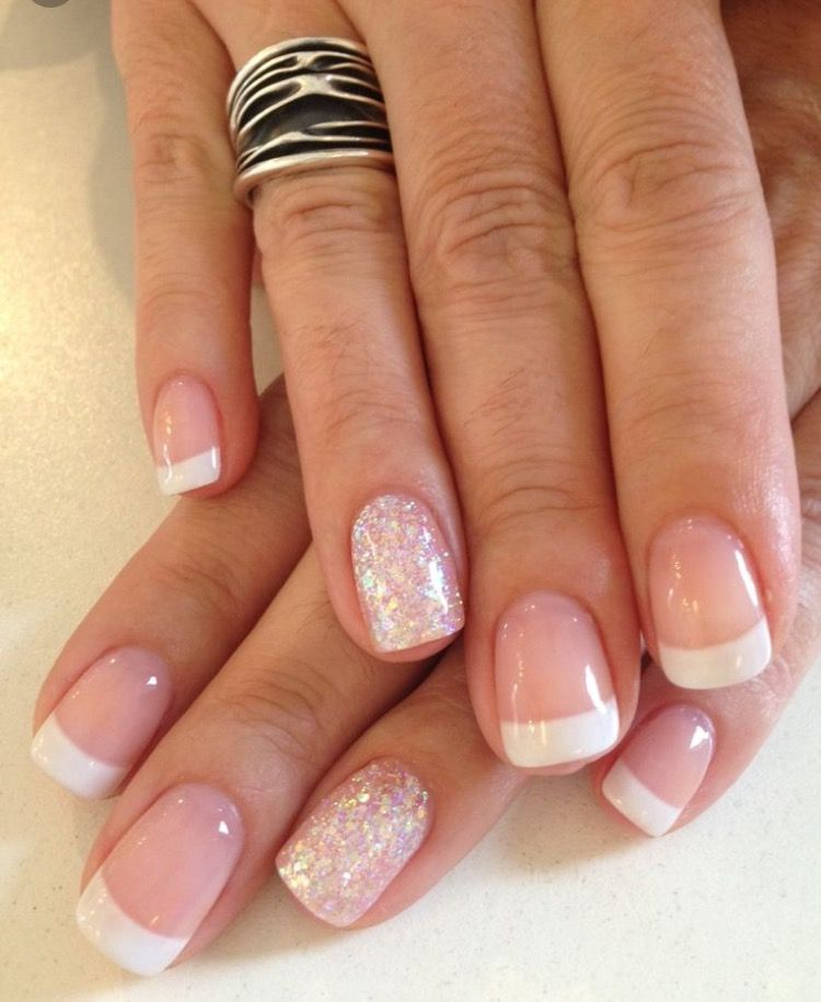 Light Pink Glitter French Nail Design Dipped Nails Nails French Tip Nails
