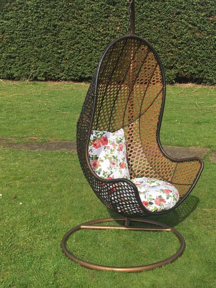 hanging chair ebay best filling for bean bag chairs rattan garden patio swing seat comfortable cushion relax egg