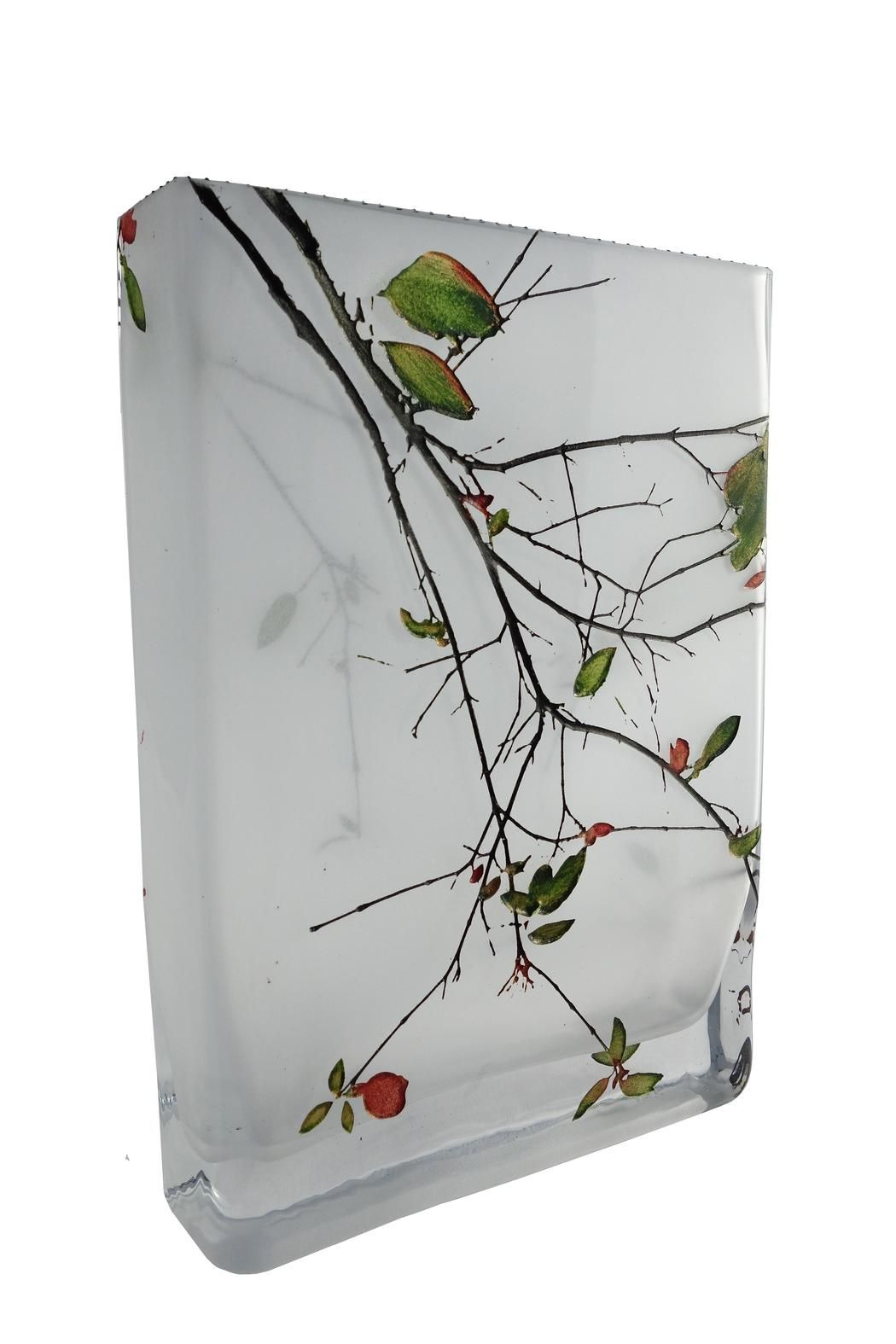 """Delicate Leaf Vase. Meticulously crafted by Mary-Melinda wellsandt in glass from hand-cut resist patterns combined with sandblasting and multiple layers of archival paints. Inspired by the glow of leaves in the misty forest, this vase can stand by itself as an art piece or used for flowers, leaves or even bare branches. 6""""W x 8.25"""" H x 1.5 W. 2 lbs.   Delicate Leaf Vase by Mary-Melinda Wellsandt. Home & Gifts - Home Decor - Vases Philadelphia, Pennsylvania"""