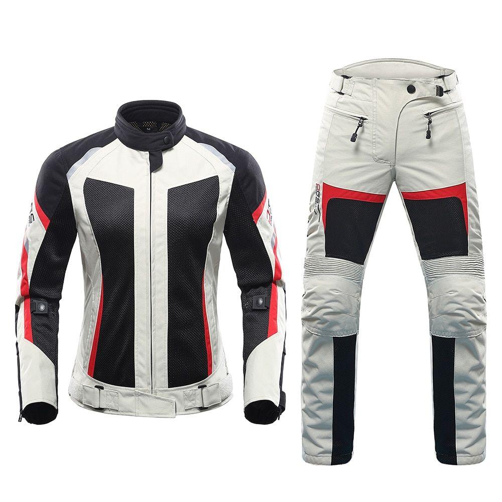 DUHAN Motorcycle Jacket Mesh Summer Motorcycle Pants Suit Jacket Moto Breathable Touring Motorbike Clothing Set for Women
