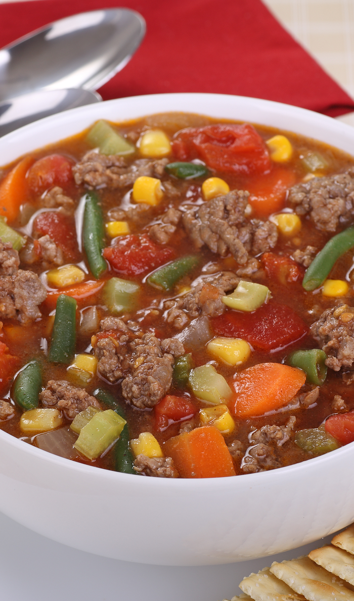 Easy Crockpot Beef Vegetable Soup Recipe Magic Skillet Recipe Hamburger Vegetable Soup Vegetable Soup Recipes Beef Dinner
