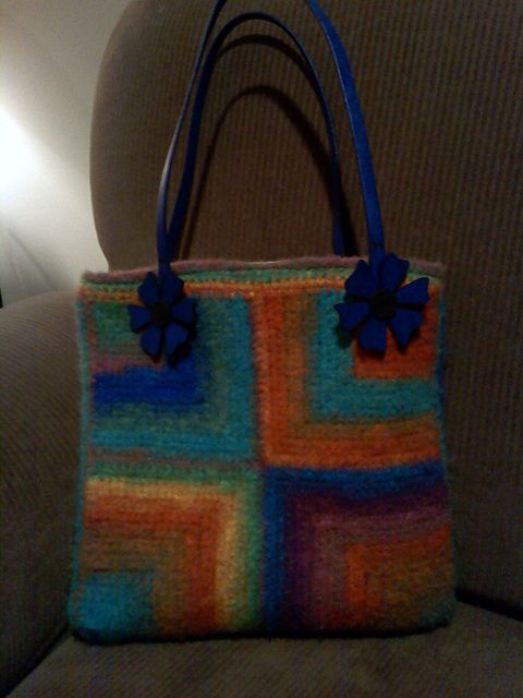 Felted Crochet Mitered Square Tote Bag Free Pattern