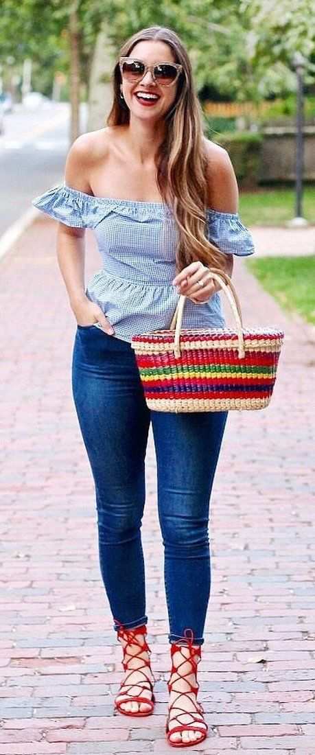 0a78b27645c89 fall  outfits Blue Off The Shoulder Top Navy Skinny Jeans