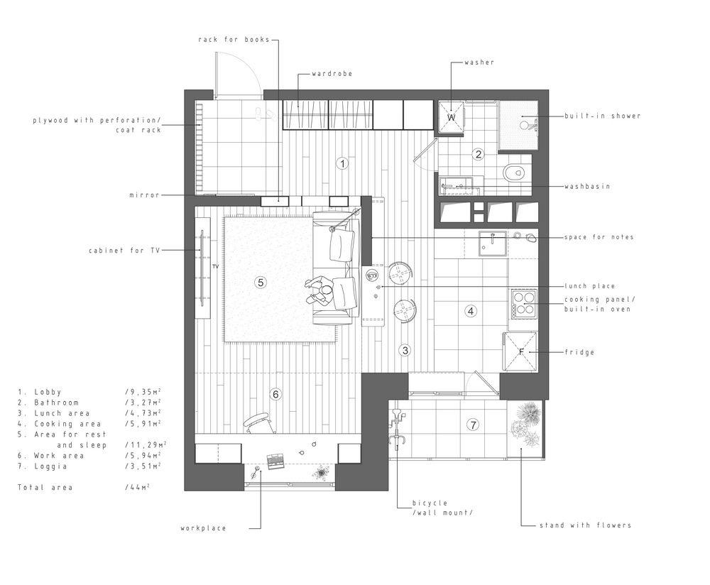 Apartment 44 m2 on Behance | Studio apartment, Studio ...