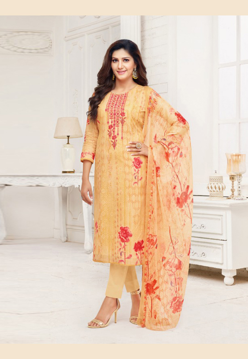 9ca8d49886 Buy Sapna Choudhary Yellow Cambric Cotton Pant Style Suit 171916 online at  lowest price from huge