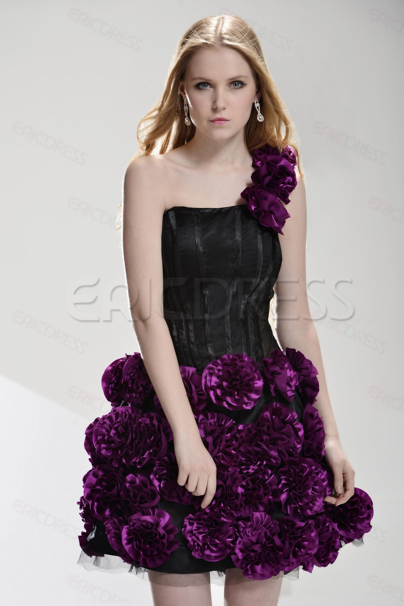 Gorgeous oneshoulder minishortlength flowers prom dress beauty