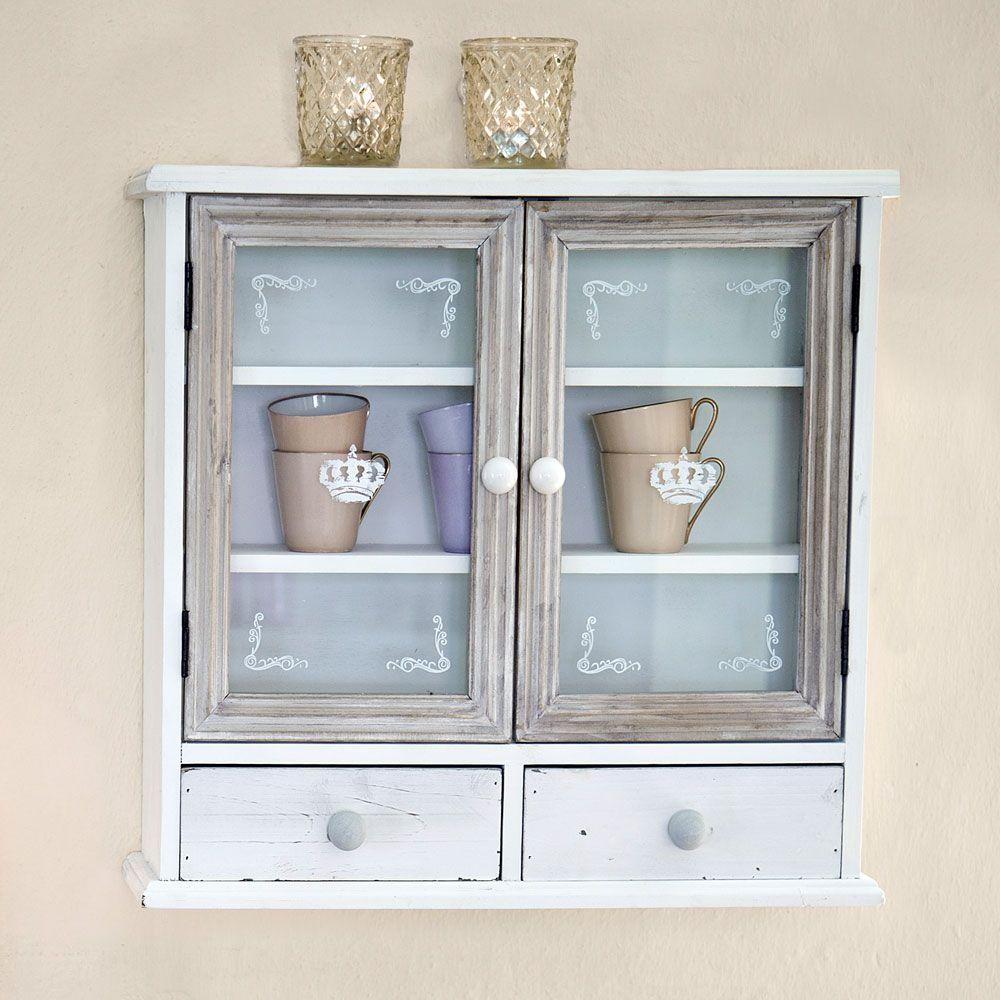 Küchen Hängeschrank im Shabby Chic Look Farbe: Weiß und Braun ... | {Küchenhängeschrank weiß 22}