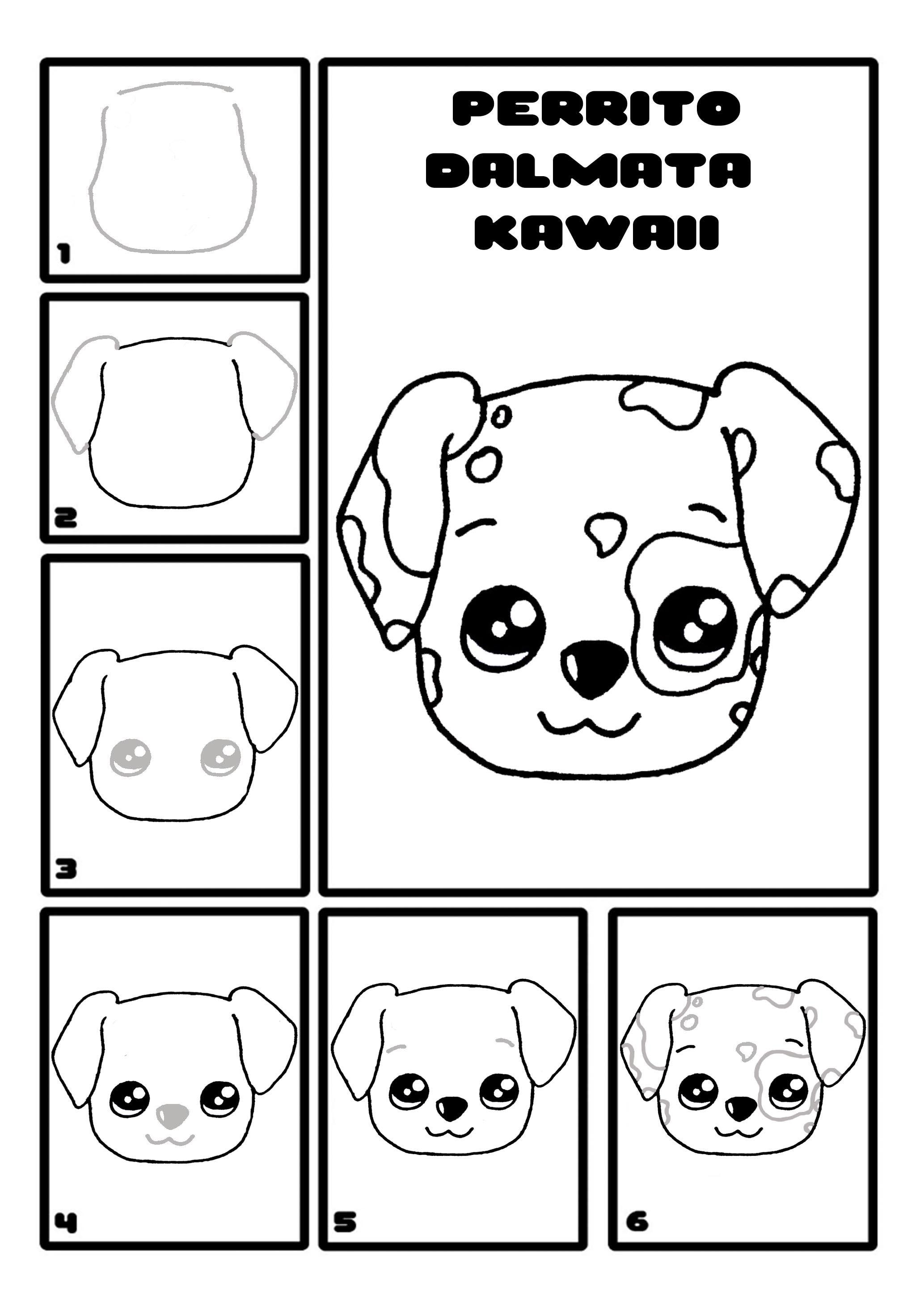 Como Dibujar Un Perro Dalmata Kawaii Paso A Paso Como Dibujar Un Perro Como Dibujar Kawaii Como Dibujar