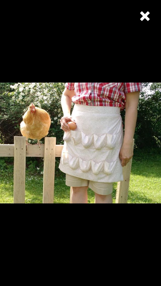 an egg collecting apron with pockets for each individual egg!