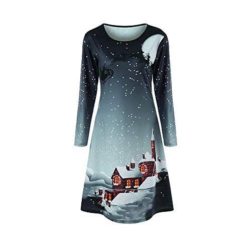 buy popular 3a72d 03ccd Longra-Weihnachtskleid-Damen-Langarm-Minikeidr-Swing-Kleid ...