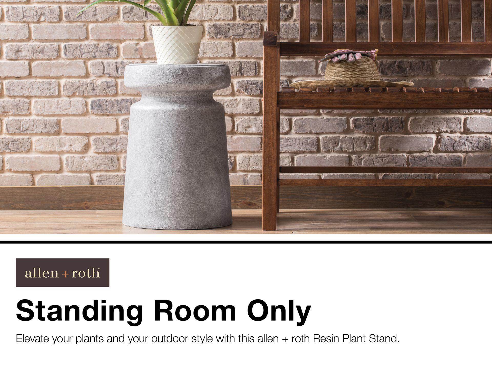 Allen Roth 20 47 In Faux Cement Indoor Outdoor Plant Stand At Lowes Com Plant Stands Outdoor Plant Stand Outdoor Plants