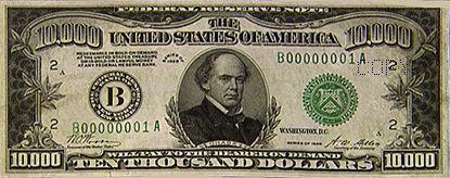 10k Bill Front Dollar Money Notes Thousand Dollar Bill