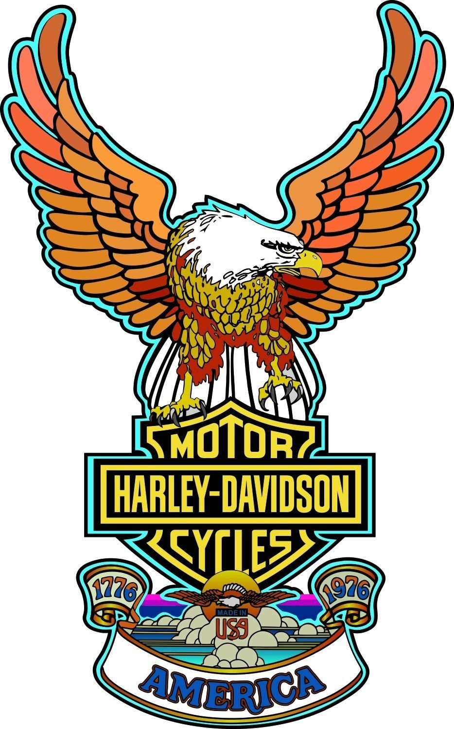 Harley Bicentennial Top Decal Tank 61831 76 1976 Sportster