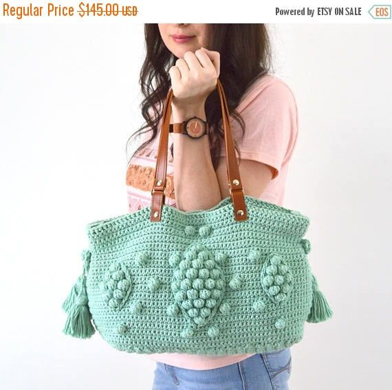 10d591e215 SALE Gerard Darel Dublin 24 Hour Inspired Handbag with Genuine Leather  Handles, Crochet bag, Tote, Purse, Boho Summer Bag by Avaneska on Etsy