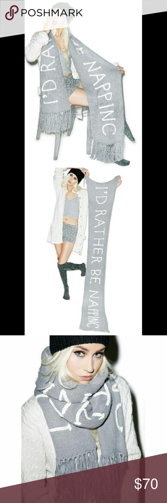 NWT Id Rather Be Napping Sleepytime Scarf Wildfox New with tags. Orginal price $88  Wildfox Couture Naptime Chainlink Scarf ...Anytime is naptime with this super long 'n' soft fringe scarf! Wrap it round ya 'n' catch some low-key ZZZs, BB.?  Materials: 70% Acrylic, 15% Nylon, 8% Wool, Polyester, 7% Alpaca Hand Wash Cold, Hang Dry Our doll wears O/S and is 5'7 Wildfox Accessories Scarves & Wraps