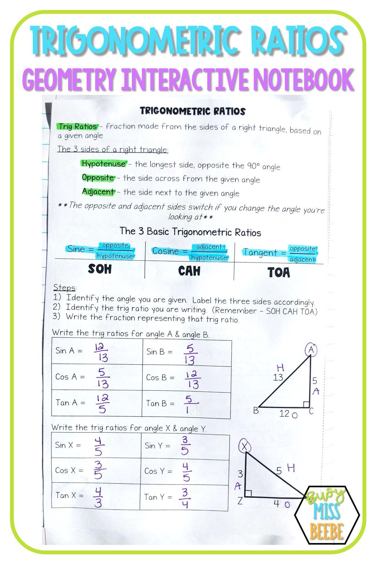 Geometry Interactive Notebook Trigonometric Ratios In 2020 Geometry Interactive Notebook Interactive Notebooks Geometry High School