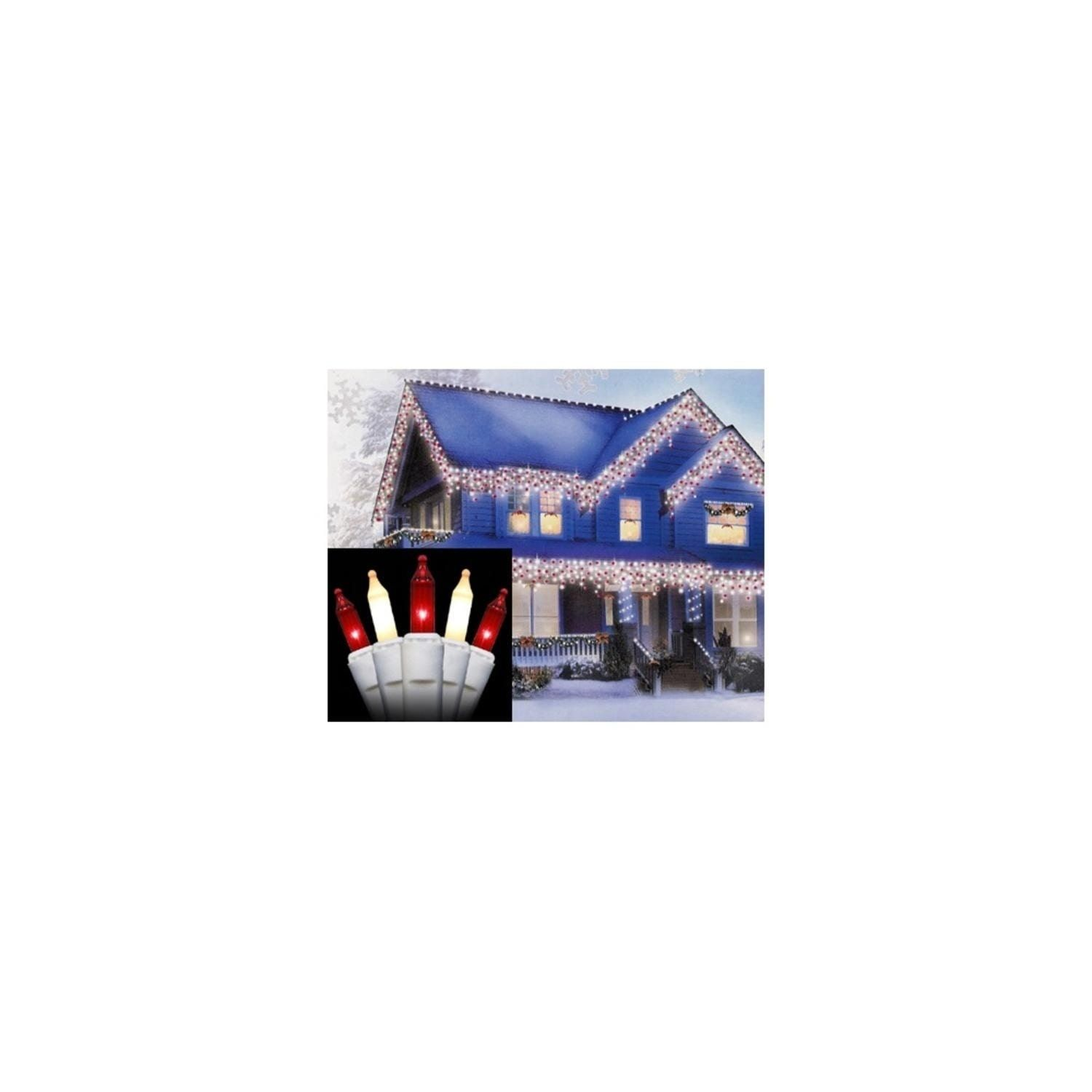 Set of 300 Red and Frosted Icicle Christmas Lights 2\