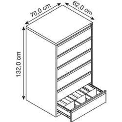 Gürkan Karteischrank grau/grau 6 Schubladen