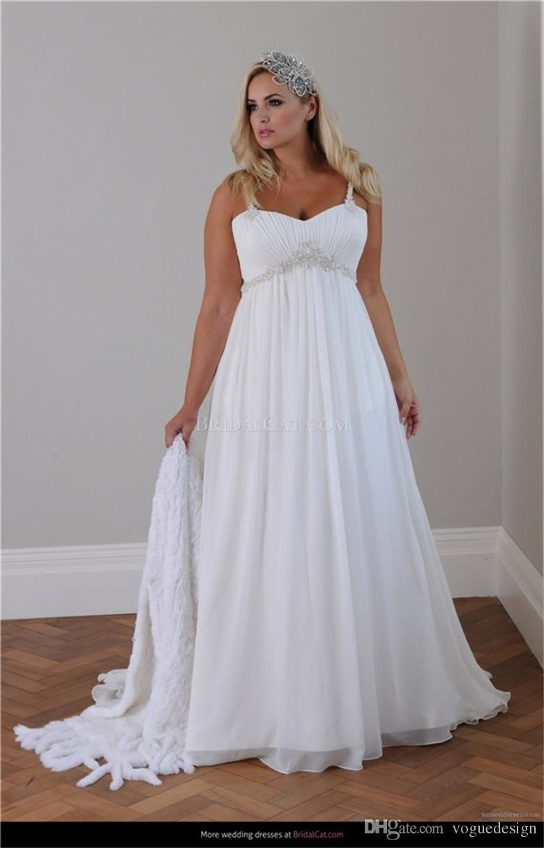 Cheap Plus Size Beach Wedding Dress 2015 Straps Pleats Chiffon Bedas Applique Sleeveless A Line