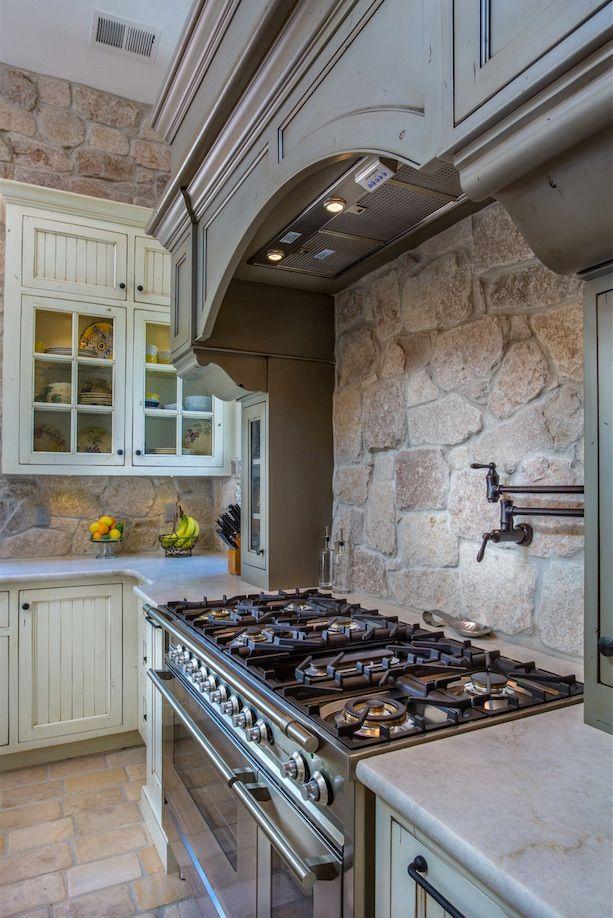 award winning farmhouse kitchen custom grey and cream distressed cabinets stone backsplash on farmhouse kitchen flooring id=76713