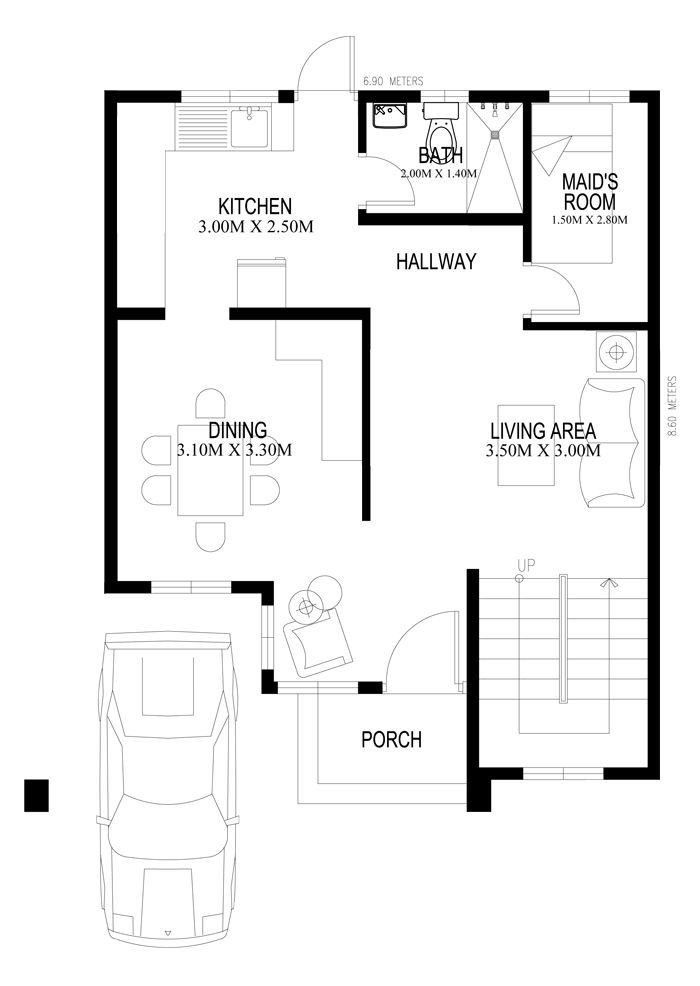 Two storey houseplans 2014005 ground floor plan house for Micro compact home floor plan