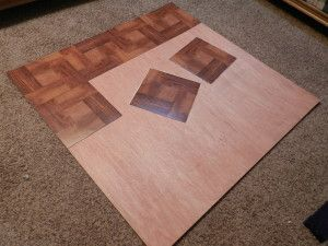 diy wood chair mat childrens personalized chairs for rolling made with underlay and peel n stick floor tiles