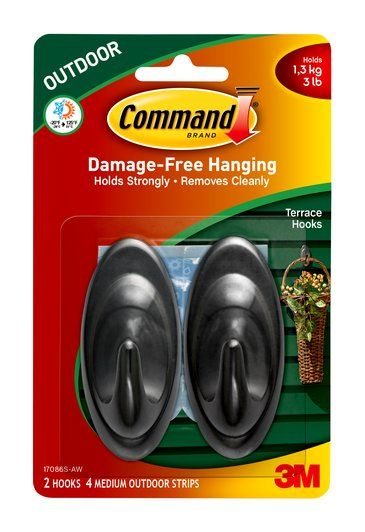 17086s Aw Command Tm Outdoor Terrace Hooks Hook Picture Framing Materials Hanging Wreath