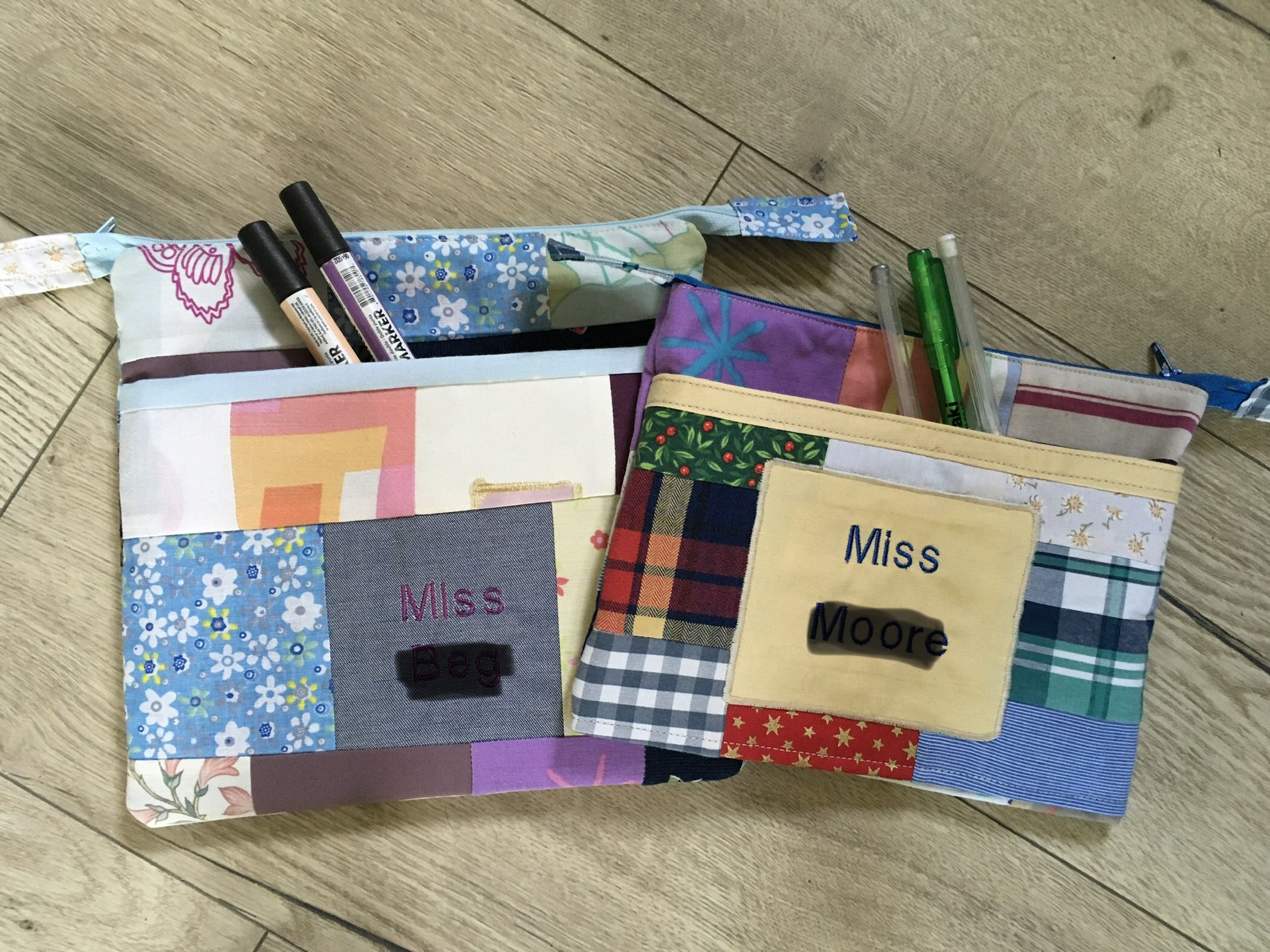 Personalised pencil case, pouch or makeup bag. Handmade