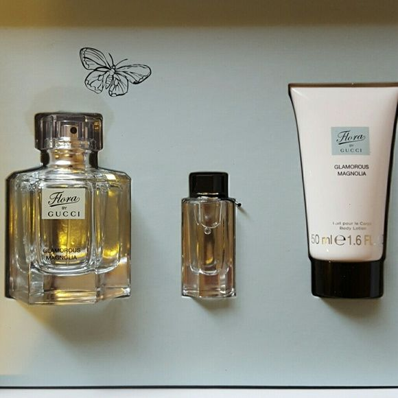 Flora by Gucci Flora by Gucci gift set. Comes with 1.6 oz perfume, travel size perfume and a body lotion. Gucci Other