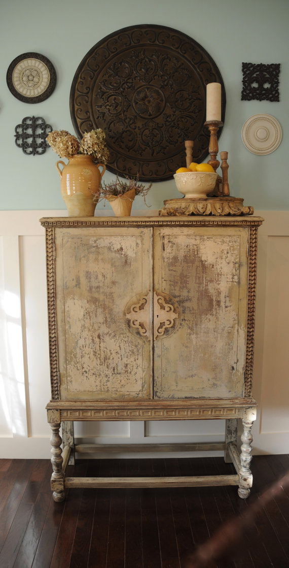Antique French Country Cabinet Vintage Shabby Chic Cupboard Boho Eclectic  Hutch Tuscan Countryside Storage