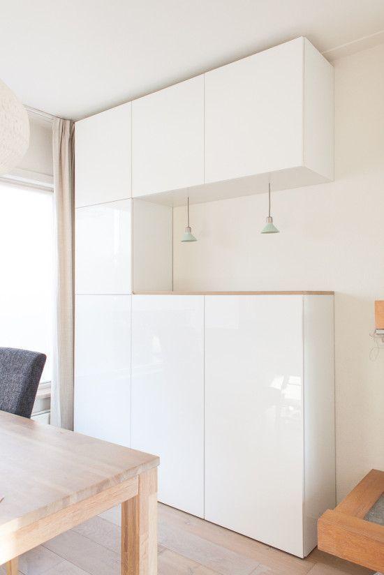 Ikea Houten Stellingkast.Houten Plank Op Ikea Besta Kasten Huiskamer Keuken Kast