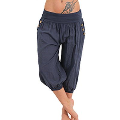 f212b6d05f3 Women Oversize Baggy Short Leggings Plain Cropped Casual 3 4 Harem Trouser  Pants
