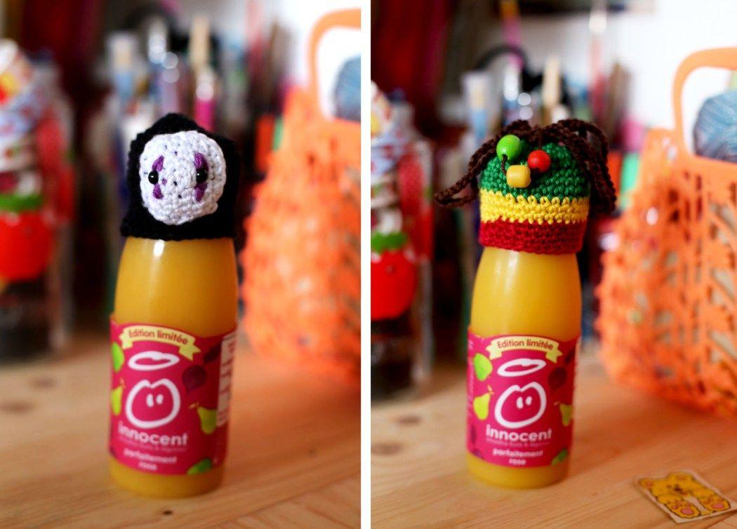 Des bonnets à crocheter innocent bouteilles