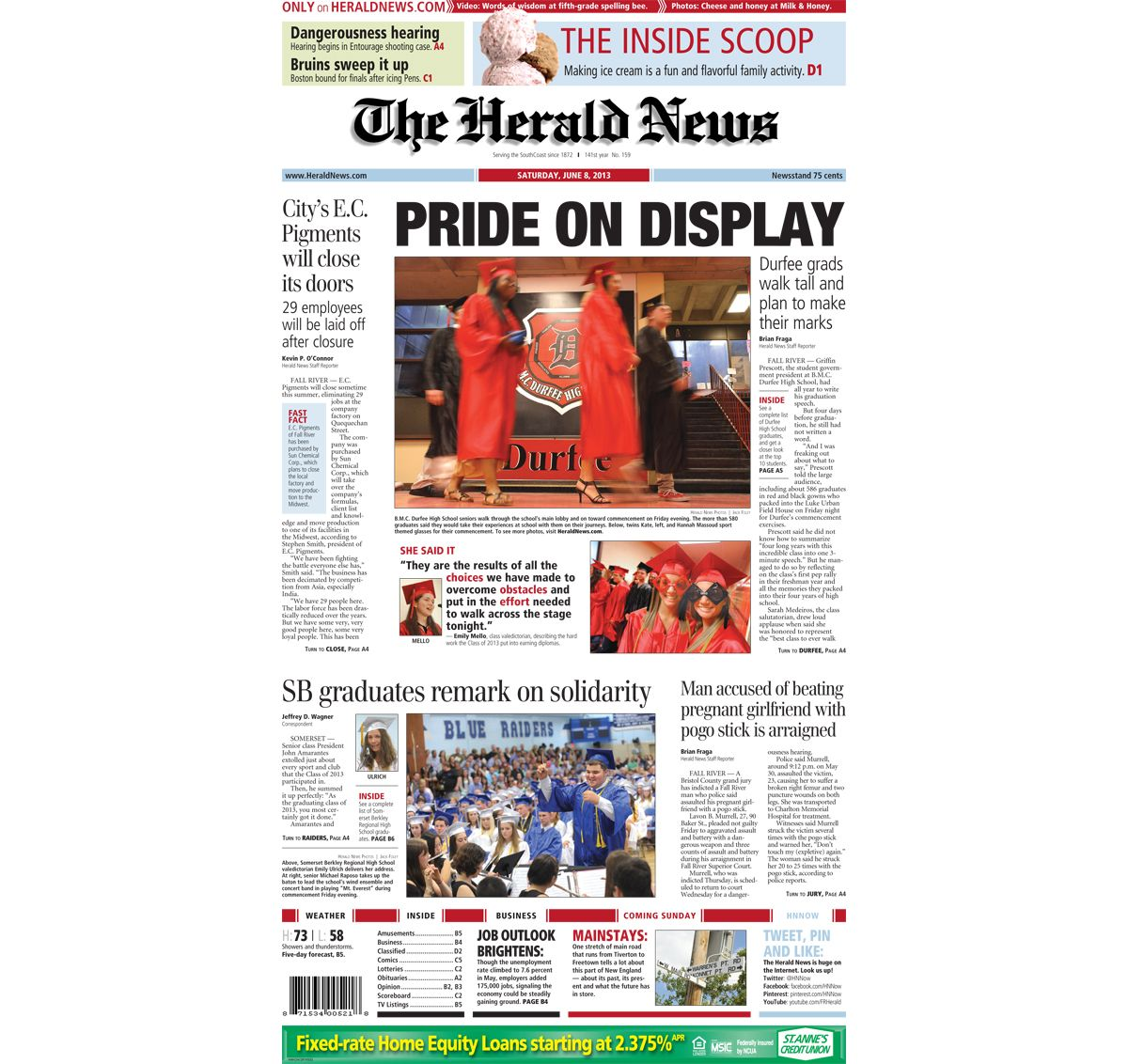 The front page of The Herald News for Saturday, June 5, 5