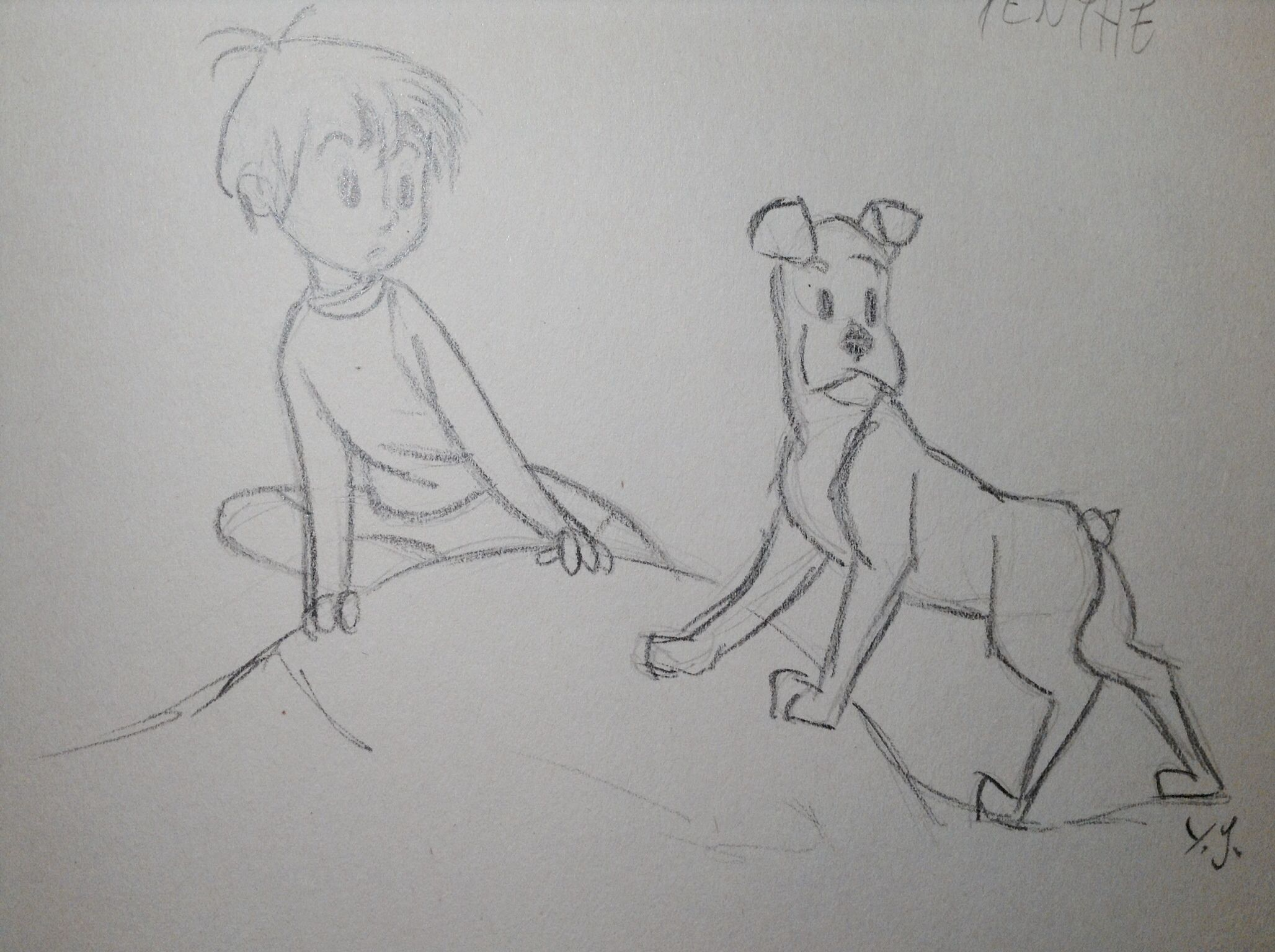 Line Drawing Boy : Boy and dog sketch a drawing from glen keane s animated short