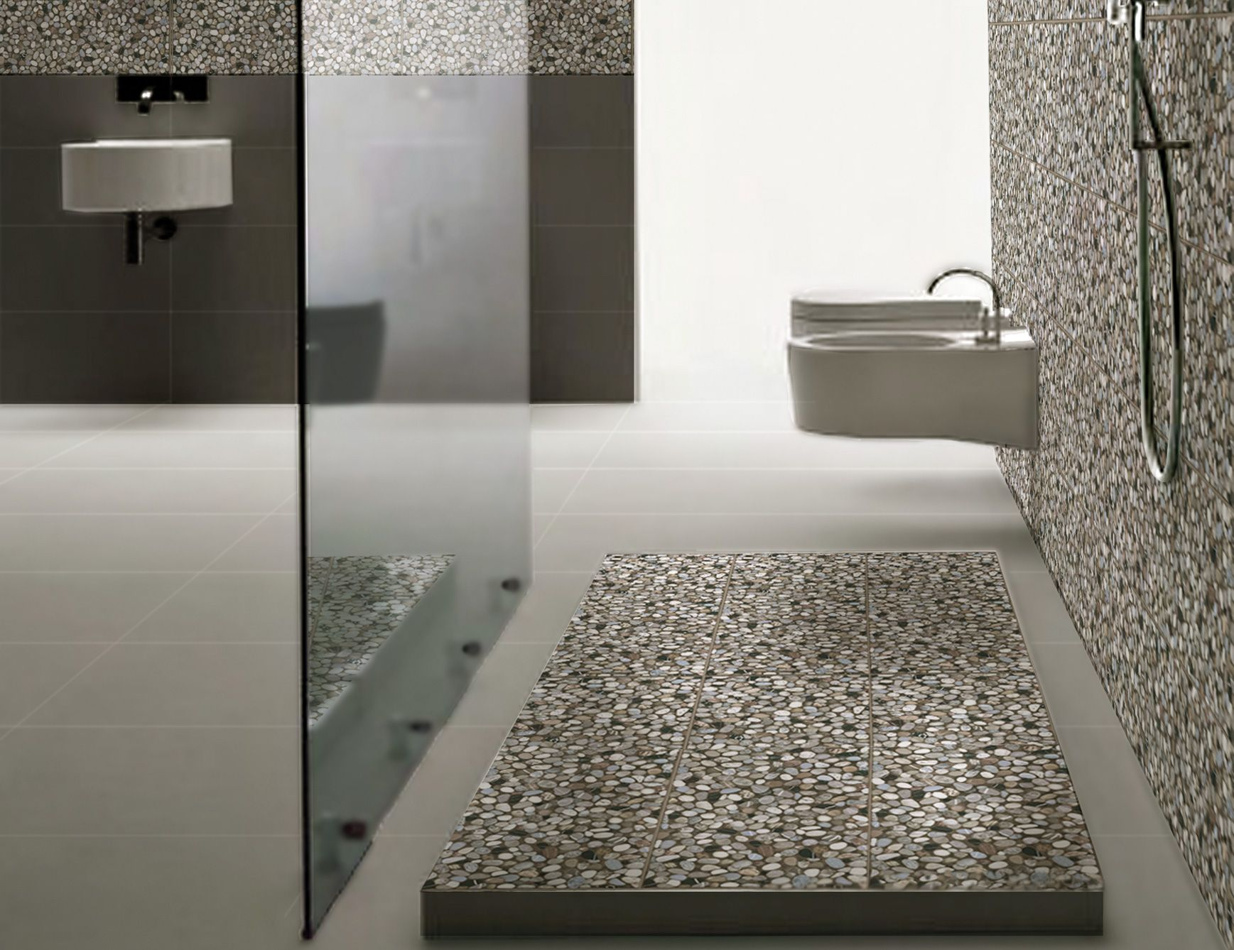 Beautiful Pebble Tile for Inspiring Home Design Ideas Awesome