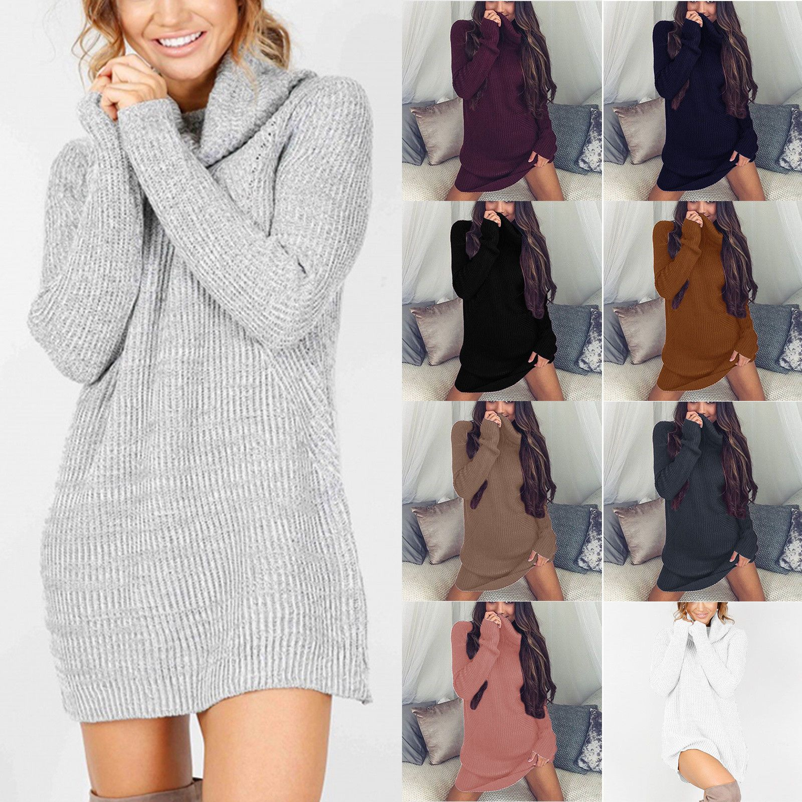 DE Damen Winter Rollkragen Pullover Pullikleid Strickkleid