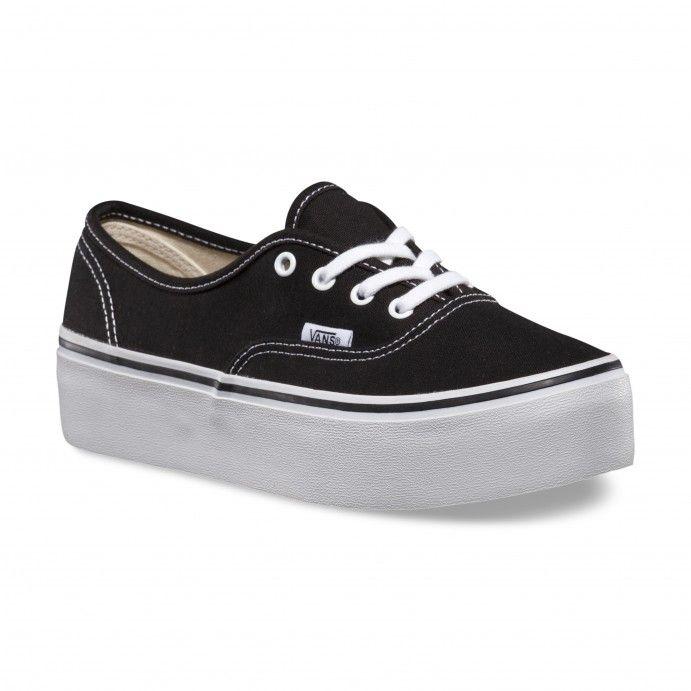 Vans Authentic Platform Schuhe (Canvas) Black/True White