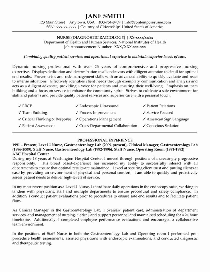 Nursing resume examples with clinical experience elegant