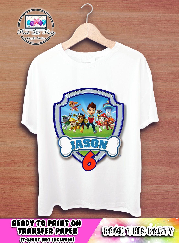 Design your own t-shirt birthday party - Paw Patrol Printable Transfer Personalized Birthday Boy T Shirt Custom Shirt Design Digital Download Designs Birthday Party Supplies Iron On